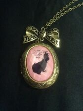 *Vintage Style Gold & Pink Bunny Cameo/Locket Necklace*