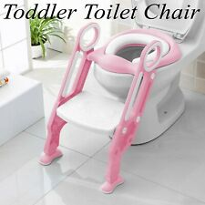 Toddler Kids Toilet Chair Potty Training Seat W/ Ladder Step Stool Anti-Skip New