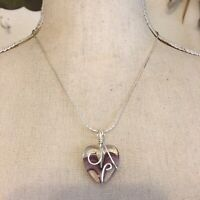 Hand crafted heart glass pendant on chain necklace