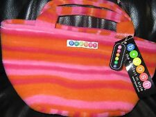 BEEPOSH tote bag purse Fleece striped orange pink  w/ key chain