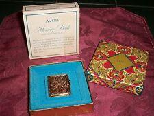 1971-75 Avon Memory Book for Perfume Glace Hinged Goldtone Metal Empty Mib