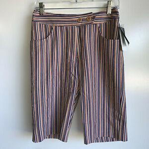 NWT $79.99 Bette & Court SWING Ladies Tan/Navy Stripe Bermuda Golf Shorts Size 4