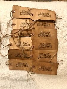 """Large Primitive """" Merry Christmas """" Hang Tags Lot Of 12 Coffee Stained"""