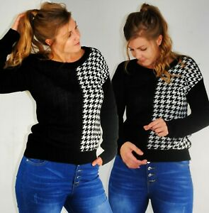 LONG SLEEVE JUMPER BLACK AND WHITE CHECK DOGTOOTH HOUNDSTOOTH ROUND NECK 10 14