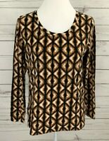 Rafaella Weekend Top Womens Medium M Brown Scoop Neck Long Sleeve Stretch Cotton