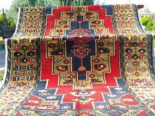 Antique 1900-1939s Indigo Blue 4'6''x8'4'' Wool Pile  Tribal Rug Turkey