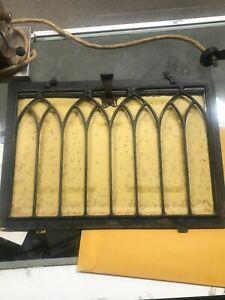 "Antique folded pressed Iron  Vent Ornate Old  window Hardware 12.75"" x 9""   921"