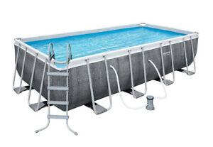 Bestway Power Steel™ Frame Pool Komplettset 488 x 244 x 122 cm Rattan Grau Neu