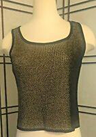 ST JOHN COLLECTION Marie Gray Black Tan Woven Knit Sleeveless Shell Top P
