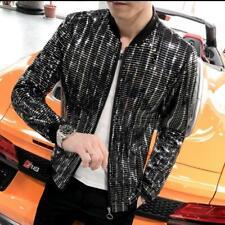 Mens Bling Singer Stage Jacket Sequins Shiny Nightclub Coat Fashion Zip Outwear
