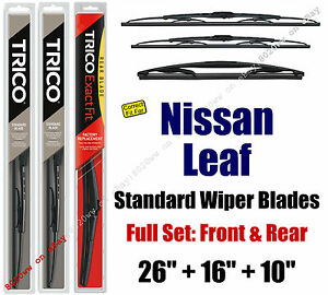 Wiper Blades 3Pk Front Rear Standard - fit 2011-2017 Nissan Leaf - 30260/160/10B