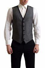 Dolce & Gabbana Men's Wool Silk Gray Button Down Vest US S IT 48
