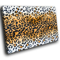Leopard Fur Coat Skin Red Funky Animal Canvas Wall Art Large Picture Prints