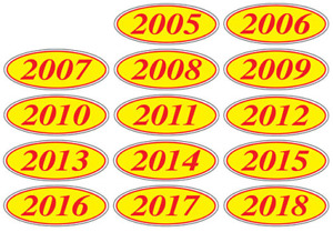 Red and Yellow Oval Year Stickers 1 doz (multiple item shipping discount) EZ198R