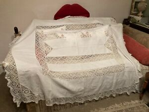 """Large French Lace Table Cloth Cotton Frilled Lace  63"""" X 76""""  Antique"""