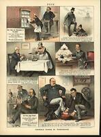 Terrible Doings Washington DC Shoe Measuring 1886 antique color lithograph print