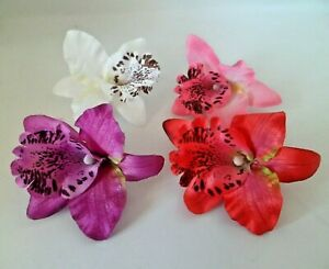 Orchid Flower Hair Grip Clip Festival Wedding Bridesmaid Prom 4 Colours Free P&P