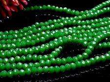 145 Glas schliff facettierte Perlen Rondelle Abakus Spacer Gras grün 3*4 mm