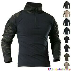 Mens Military Army Combat Shirt Tactical Long Sleeve Casual T-Shirt Camouflage