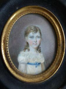 FINE ANTIQUE EARLY 19th CENT. ELEGANT GIRL MINIATURE PORTRAIT 1820's