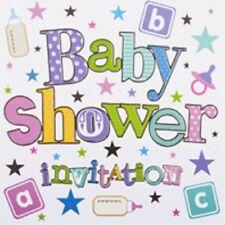 Pack Of 6 Unisex Baby Shower Card Invitations & Envelope - Stars & Bottles DP294