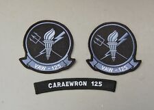VAW-125 Caraewron Patch set 3 Navy Tigertail Early Warning Squadron Torch Bearer