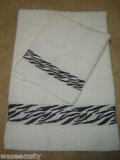 2pc. Zebra Wild Animal Print Black & White Bath Towel Set