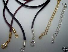 2 Cord Necklaces and Chain Extenders INTERCHANGEABLE Black Brown Lobster clasps