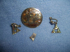 Vintage Mexico Silver Pin brooch & clip earring set  mother of pearl mosaic 1970