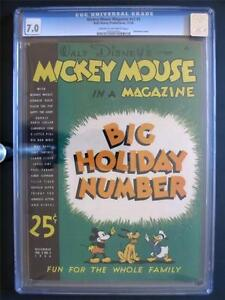 Mickey Mouse Magazine Vol 2 #3 WALT DISNEY 1936 CGC 7.0 Xmas Issue! 2nd HIGHEST