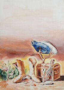Surrealist fairy tale gouache painting