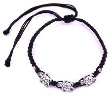 Bracelet de l'Amitié Tortue Porte Bonheur Homme Femme taille ajustable noir méta