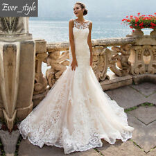 Mermaid White Ivory Lace Wedding dress Bridal Gown size 6-8-10-12-14-16++