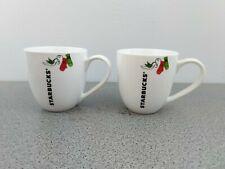Starbucks Coffee Mug Tea Cup 2011 Holiday Bird Dove Mittens Collectible Set of 2