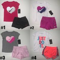 New Nike Little Girls 2 Piece Shirt and Shorts Set Choose Size & Color MSRP $36