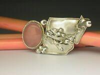 Schwedische Vintage Designer 925er Silber Rose Quarz Brosche