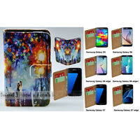 For Samsung Galaxy Series Lamp Post Lovers Print Wallet Mobile Phone Case Cover