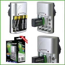 FAST Rechargeable Compact Battery Charger for AA/AAA/9V Ni-Mh Lloytron UK Socket