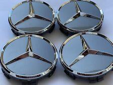 4x Original Mercedes Benz Grau Chrom Anthrazit  Rad Naben Kappen Deckel Emblem