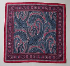 Wool & silk pocket square handkerchief. Magenta & blue Paisley. Hand rolled