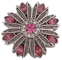 Antiqued Silver Pink Rhinestone Flower 20mm Snap Charm For Ginger Snaps Jewelry