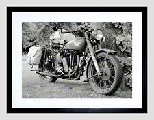 CULTURAL MILITARY TRANSPORT MOTOR CYCLE ARMY USA BLACK FRAMED ART PRINT B12X7315