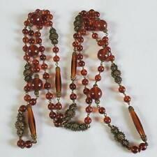 Vintage Art Deco Czech Long Amber Glass Necklace