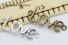 Antique Silver Beautiful LOVE Charms Pendant Connector Crafts Jewelry Making C