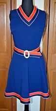 Vtg 1960's / 1970's Go-Go Poly Dress Cheerleader Dress Uniform Size S/M
