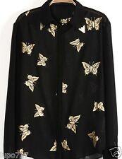 """Para Mujer Con Mariposa Imprime En Negro Camiseta Top Blusa Nuevo Tamaño Del Busto 39 """""""