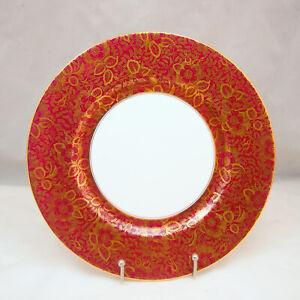 Minton BROCADE BURGUNDY H5066 Dinner Plate (No Design in Center)