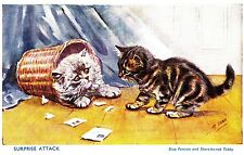 CD68.Vintage Postcard.Surprise Attack.By Mabel Gear.Blue Persian, Tabby Cats