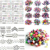 105pcs Bulk Lots Body Piercing Eyebrow Jewelry Belly Tongue Bar Ring Mixed Set