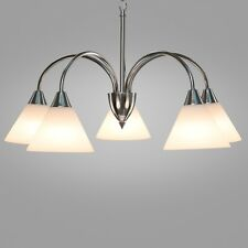 Cone Glass Ceiling 5 Light - Simple Satin Silver Pendant Downlight With Chain